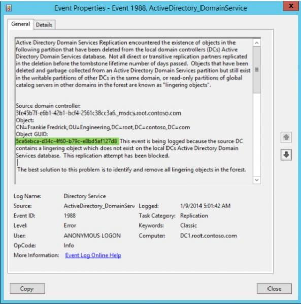 Figure 13: Confirming There's a Lingering Object in Event Viewer