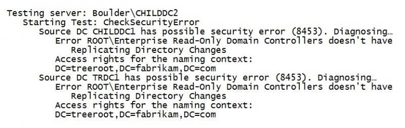 Figure 16: Reviewing DCDiag.exe Output for Security-Related Problems