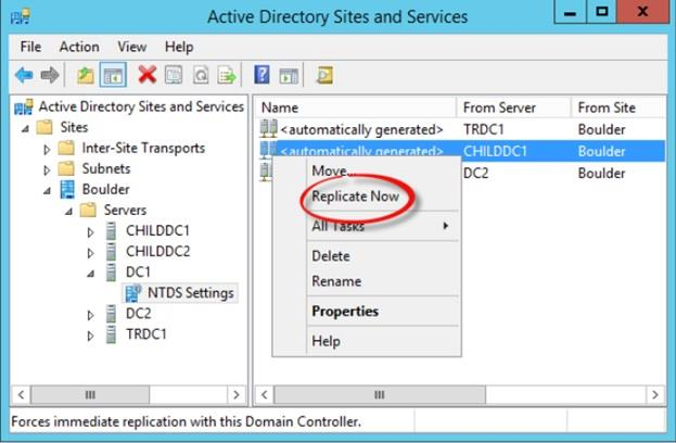 Figure 10: Testing AD Replication from the Active Directory Sites and Services Snap-In0: Testing AD Replication from the Active Directory Sites and Services Snap-In