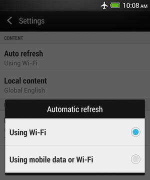 HTC BlinkFeed - Changing connection settings