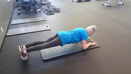 74-year-old Sue can hold a 2-minute plank.