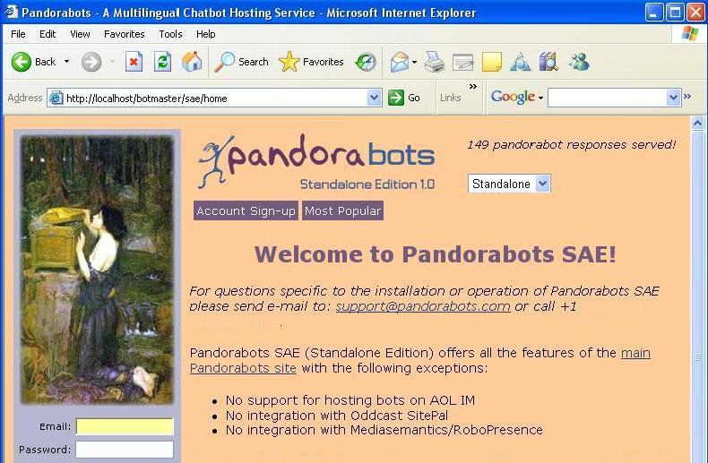 Pandorabots Standalone Edition SAE 1.01 - Click to see full size image
