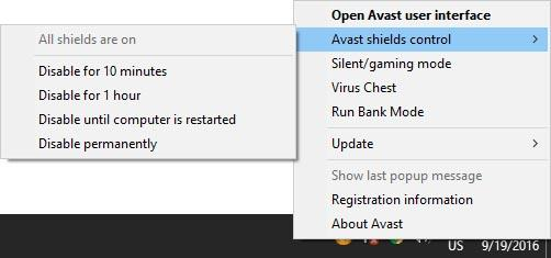 Temporarily Disabling Avast Protection from the Windows Tray