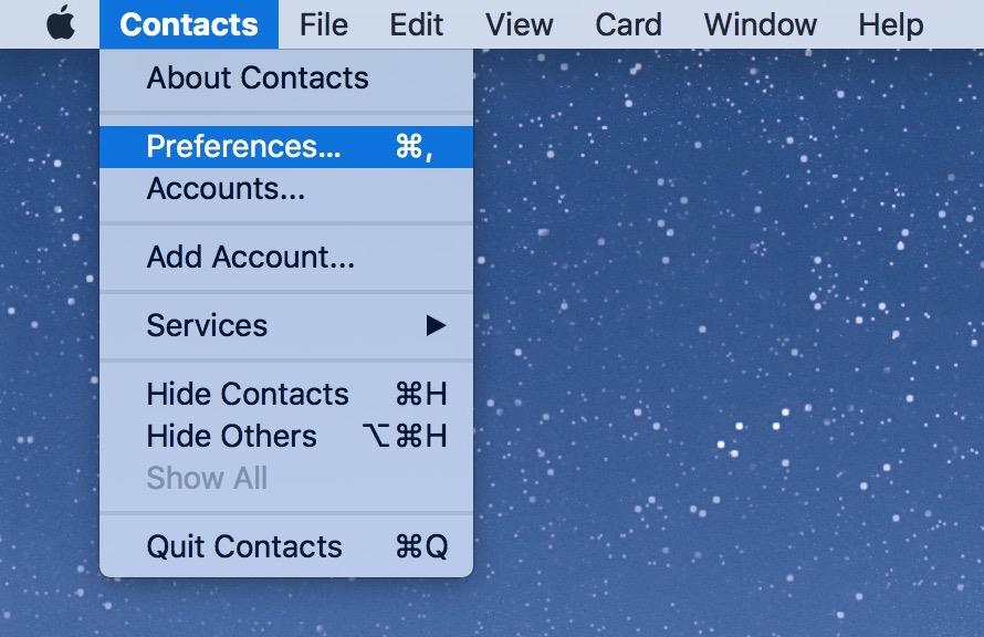 Contacts app Preferences menu
