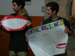 Hunter and Brendan giving a dental hygiene presentation.
