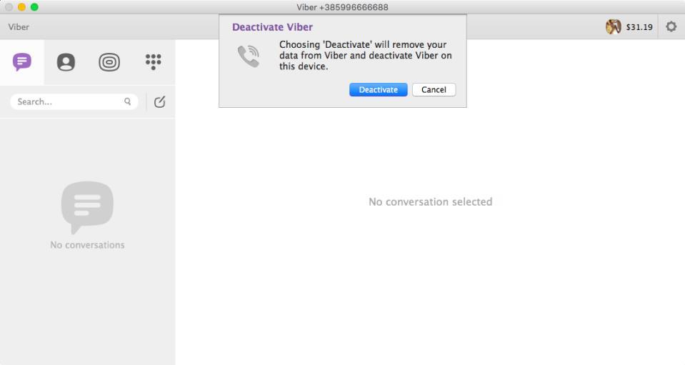 Viber deactivate account Mac screenshot 002
