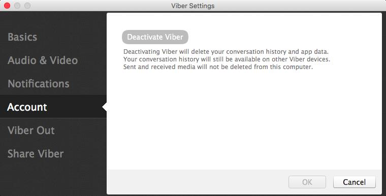Viber deactivate account Mac screenshot 001