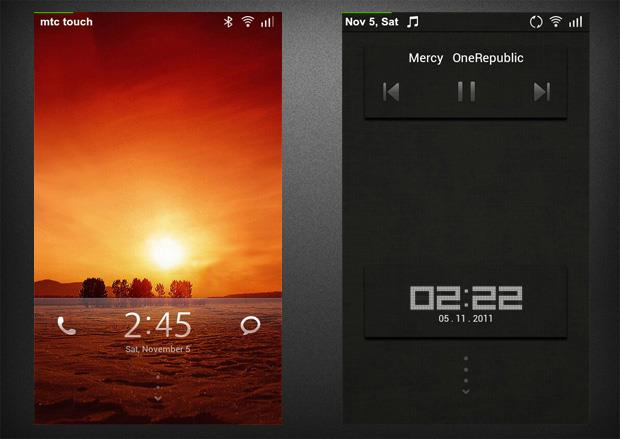 Default lockscreen and another one showing the music player controls