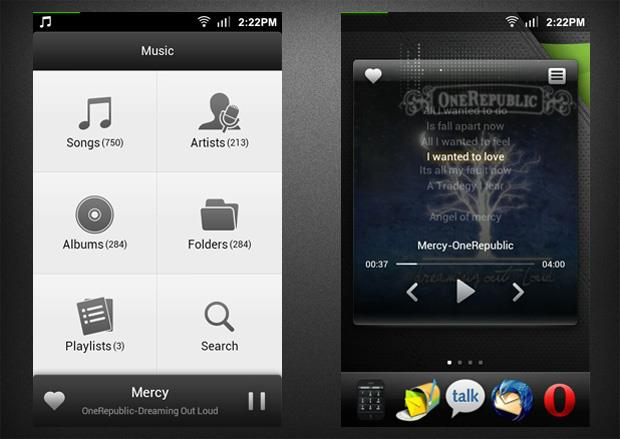 MIUI Music Player main screen and widget with lyrics
