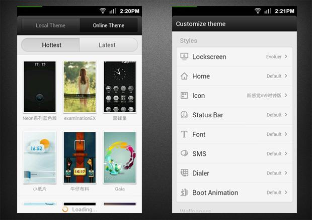 MIUI online themes downloads and customizable theme elements