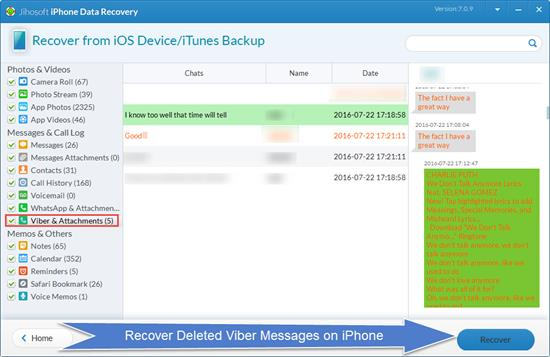 Retrieve Deleted Viber Messages on iPhone/iPad