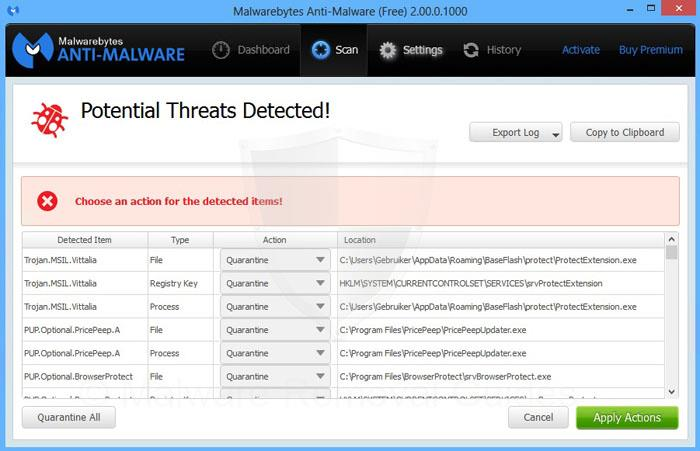 Malwarebytes Anti-Malware Apply actions