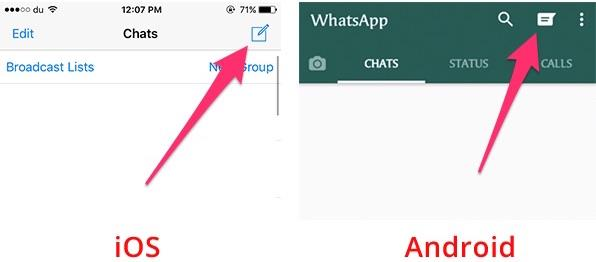 view contacts list in WhatsApp