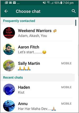 choose Android WhatsApp chat to email