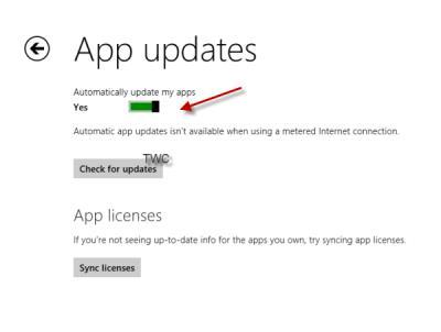 turn off automatic app updates windows 8.1