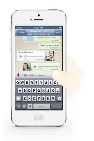 WhatsApp (voice messaging, iPhone screenshot 001)