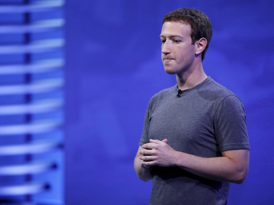 Facebook CEO Mark Zuckerberg speaks on stage during the Facebook F8 conference in San Francisco, California April 12, 2016.