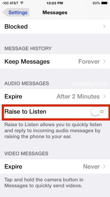 Raise to Listen and Raise to Respond to audio messages in iOS