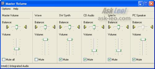 Master Volume Control and Mixer in Windows XP