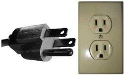 U.S. standard three-prong plug and socket