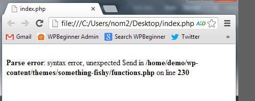Syntax error in WordPress