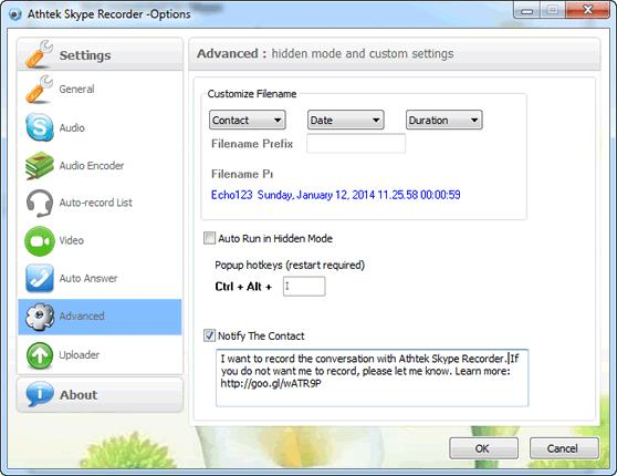 Advance Option of Skype Recorder