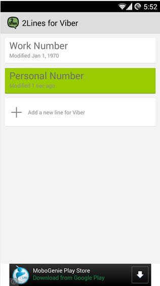 use two Viber accounts on same device