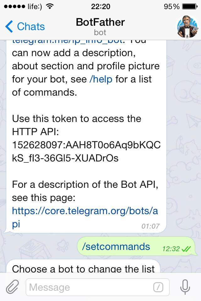 Success created Telegram bot