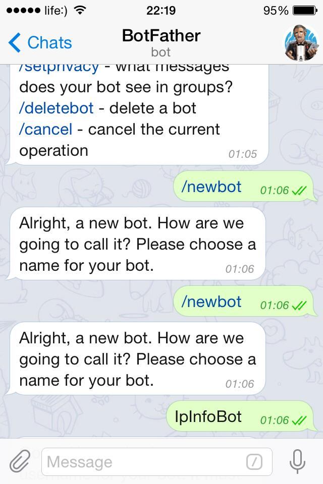 New bot for Telegram