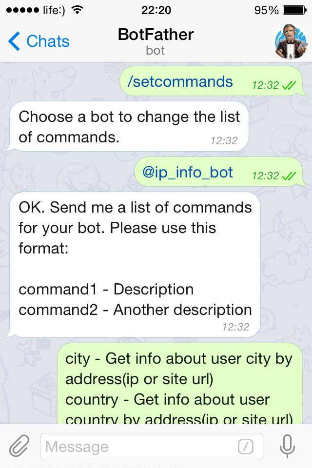 Add comands for Telegram bot