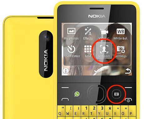 dedicated camera key and self portrait option on Nokia Asha 210