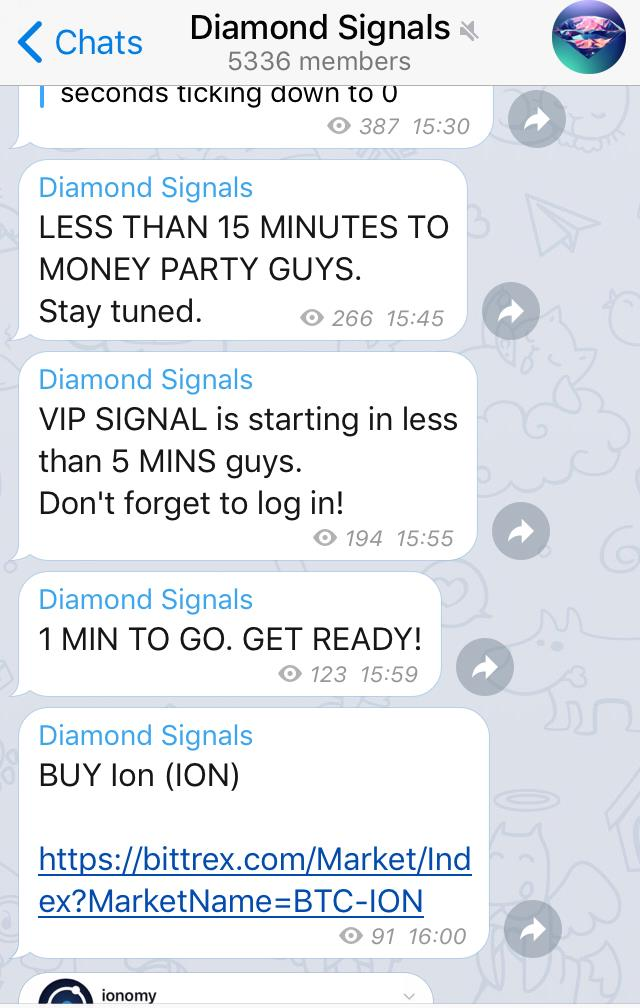 Telegram pump and dump group