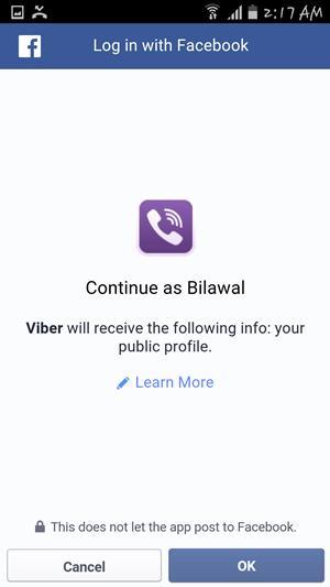 Facebook integration on viber