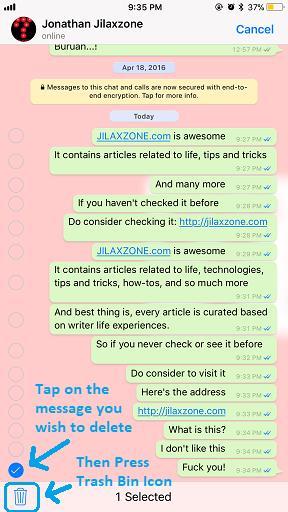 Delete WhatsApp Message jilaxzone.com Trash Bin Icon