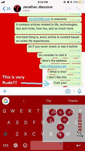 Delete WhatsApp Message jilaxzone.com rude message