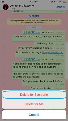 Delete WhatsApp Message jilaxzone.com Delete for Everyone