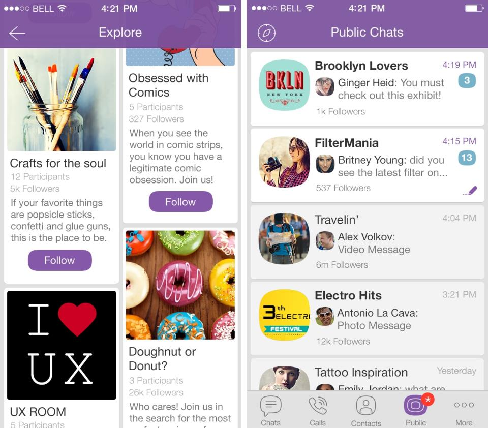 Viber 5.1.1. for iOS (Public Chats, iPhone screenshot 001)