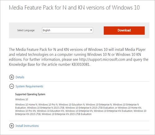 Install Media Feature Pack for N and KN versions of Windows 10