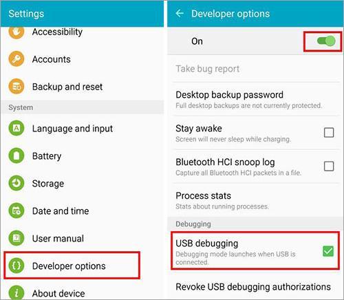 Enable the USB debugging