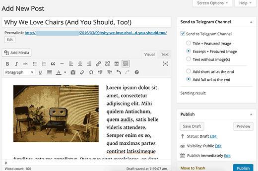 Send WordPress posts to your Telegram channel
