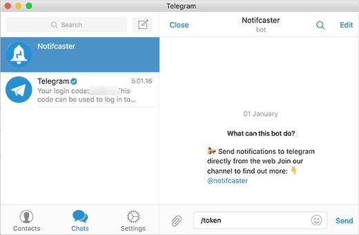Getting API token from notifcaster bot