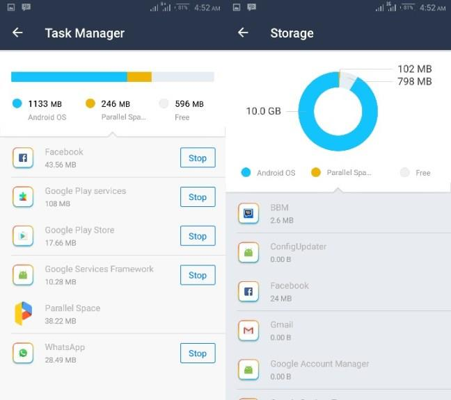 Parallel Space task manager