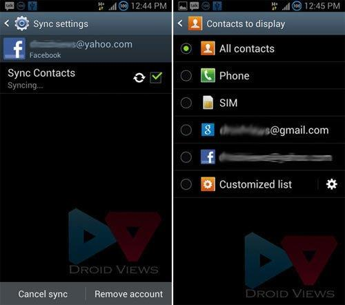 remove facebook contacts from android