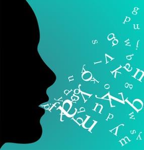 person with words in mouth, english pronunciation