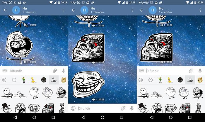 capturas de stickers de telegram para android de memes