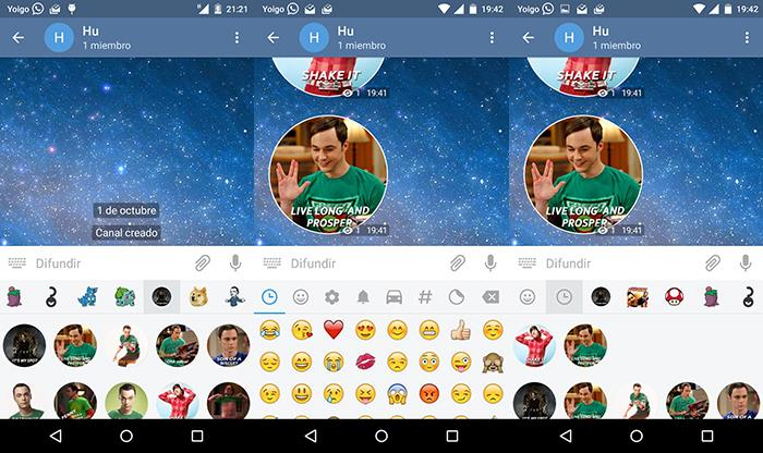 stickers de telegram en movil android