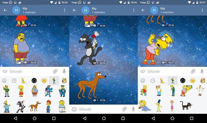 capturas de stickers de los simpsons telegram