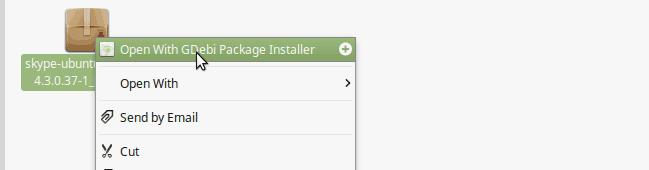 Install skype using GDebi Package installer