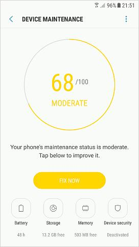 Device Maintenance in Android phone settings