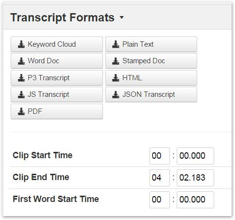 download transcript file in desired file format